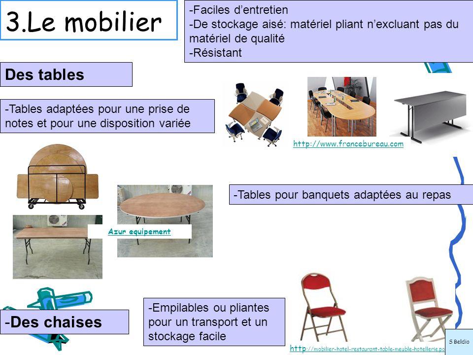 3.Le mobilier Des tables Des chaises Faciles d'entretien