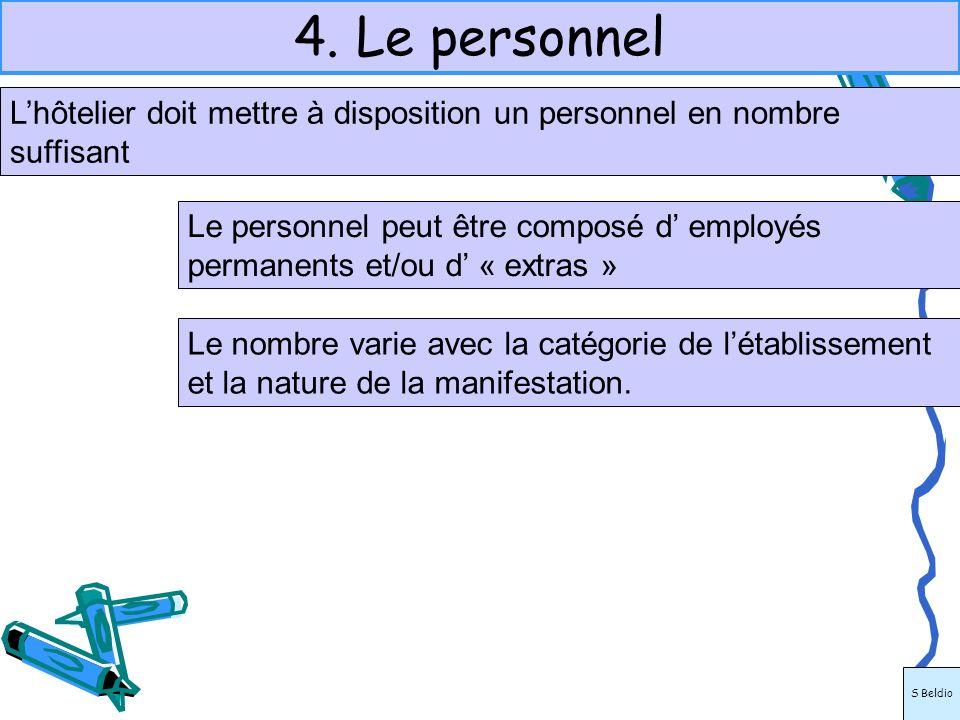 4. Le personnelL'hôtelier doit mettre à disposition un personnel en nombre suffisant.