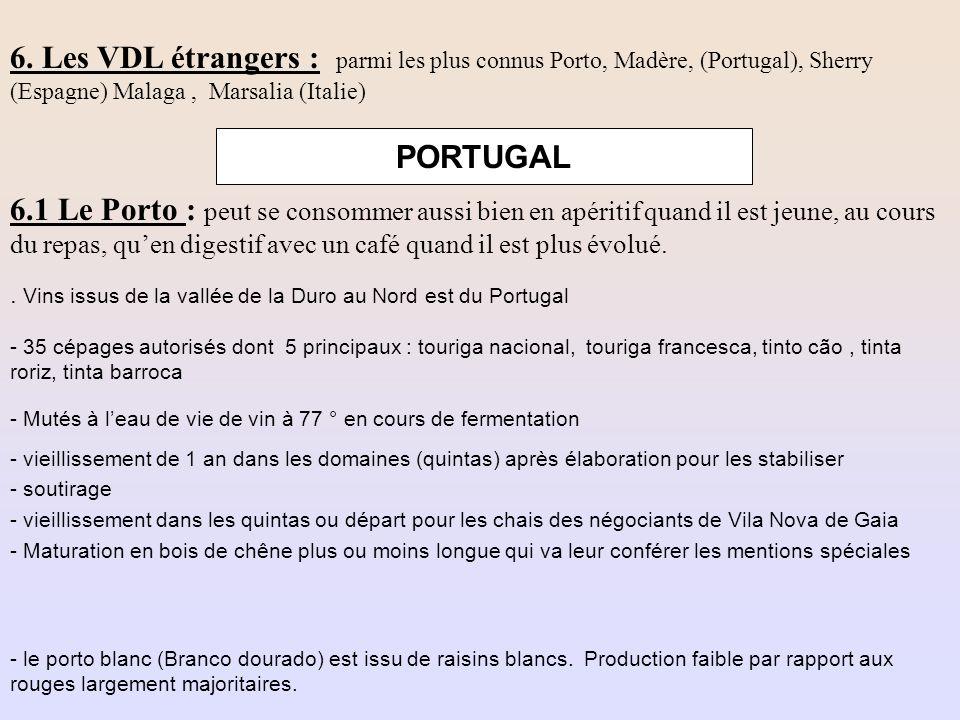 6. Les VDL étrangers : parmi les plus connus Porto, Madère, (Portugal), Sherry (Espagne) Malaga , Marsalia (Italie)