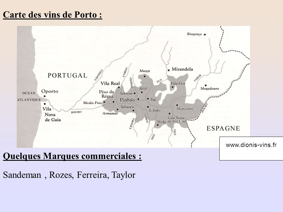 Carte des vins de Porto :
