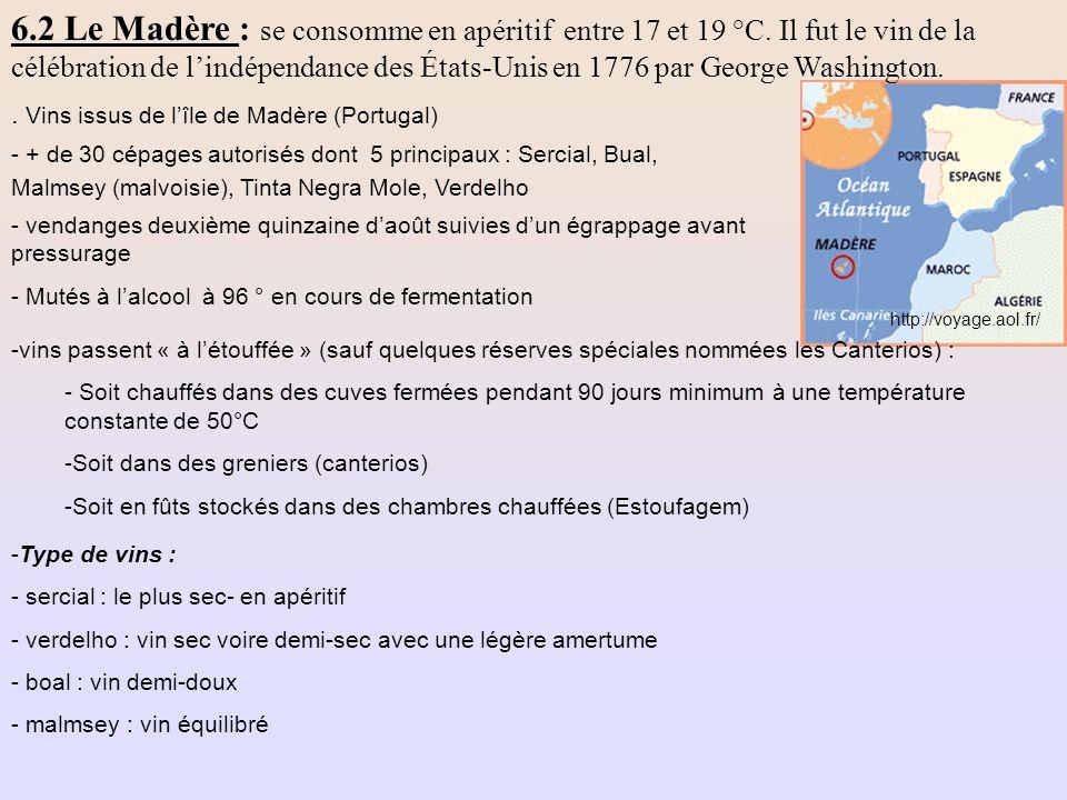 6. 2 Le Madère : se consomme en apéritif entre 17 et 19 °C