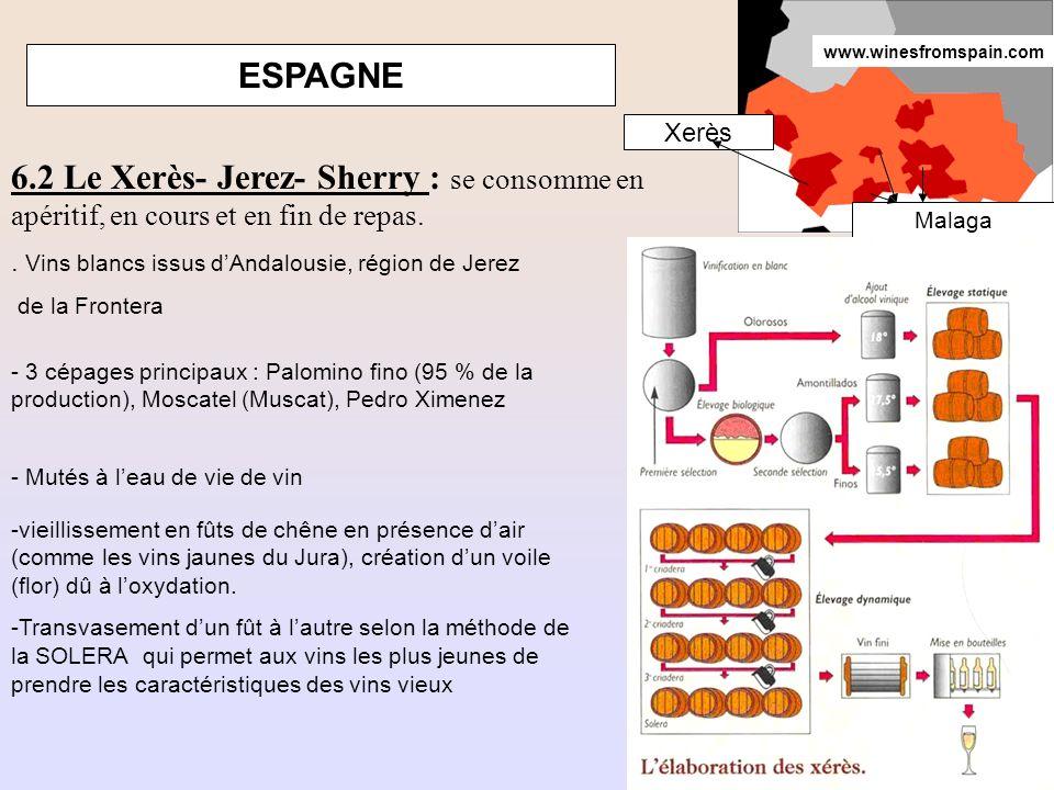 www.winesfromspain.com ESPAGNE. Xerès. 6.2 Le Xerès- Jerez- Sherry : se consomme en apéritif, en cours et en fin de repas.