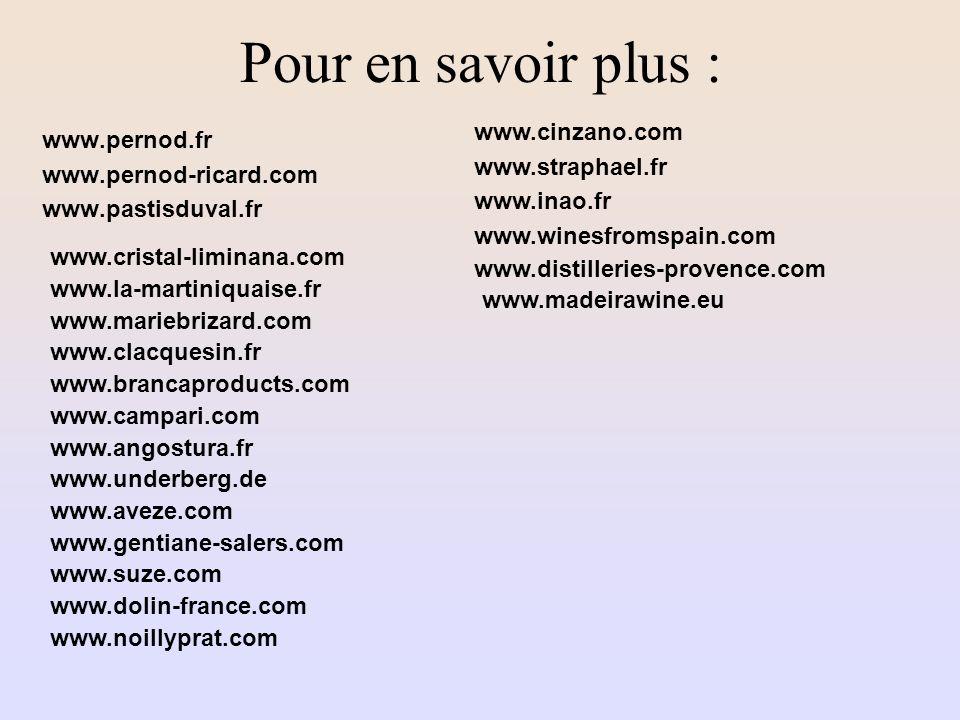 Pour en savoir plus : www.cinzano.com www.pernod.fr www.straphael.fr