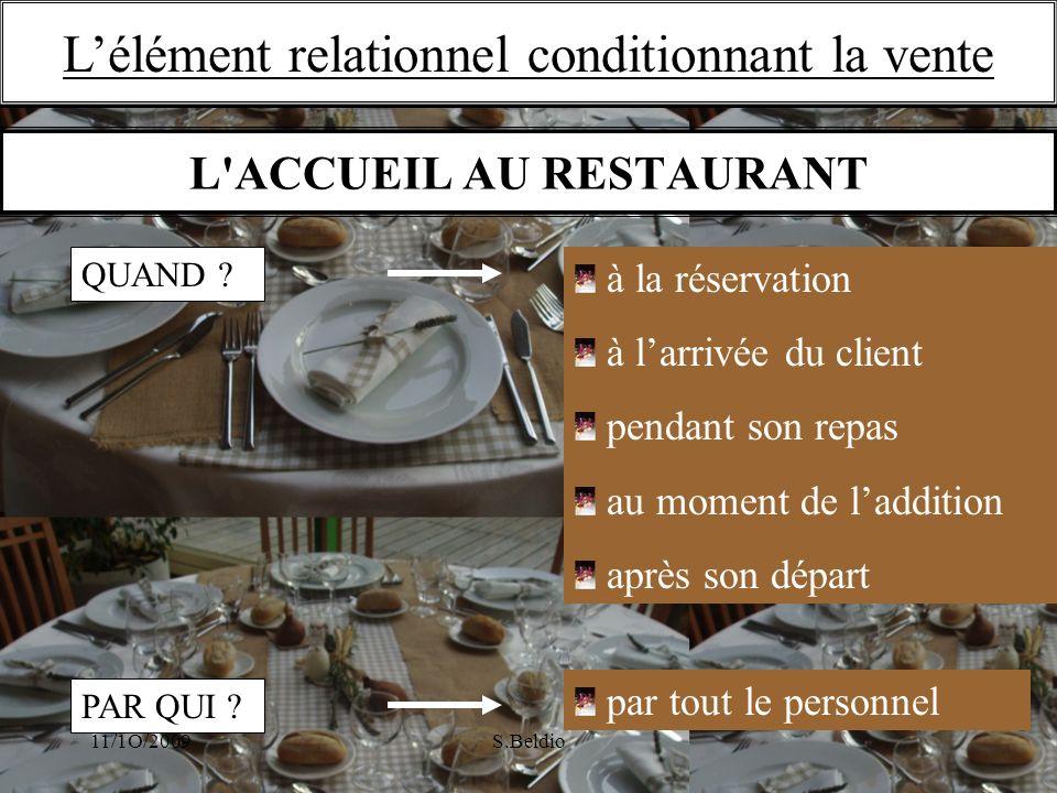 L ACCUEIL AU RESTAURANT