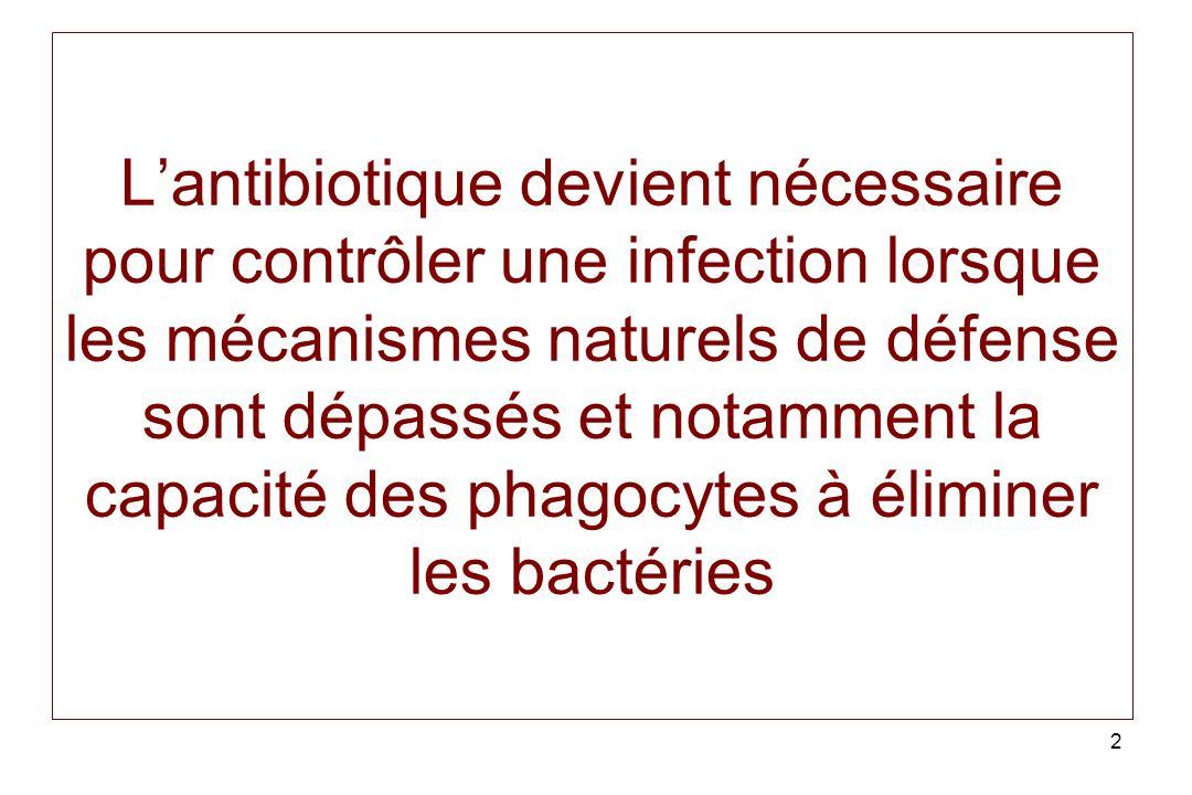 L'antibiotique devient nécessaire pour contrôler une infection lorsque les mécanismes naturels de défense sont dépassés et notamment la capacité des phagocytes à éliminer les bactéries