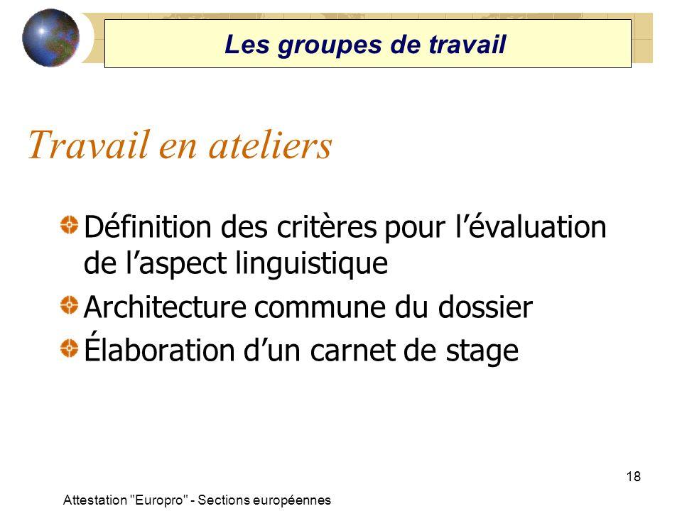 Les groupes de travail Travail en ateliers. Définition des critères pour l'évaluation de l'aspect linguistique.