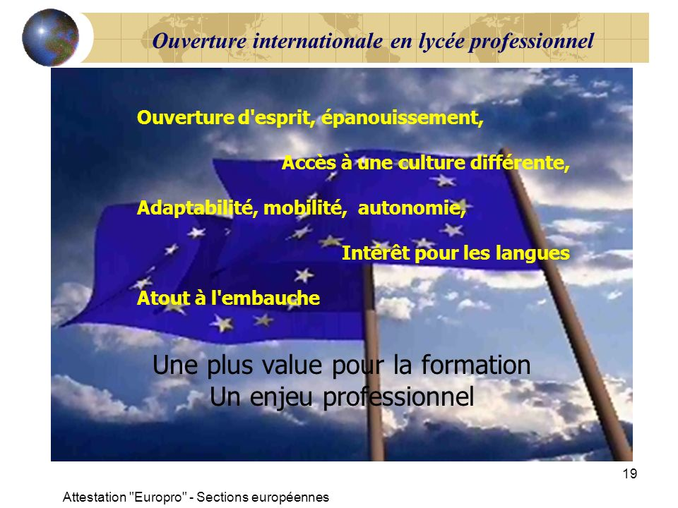 Ouverture internationale en lycée professionnel