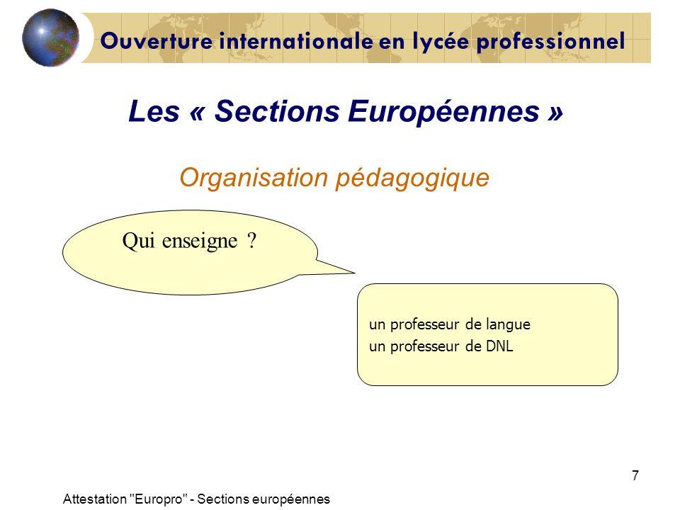 Les « Sections Européennes »