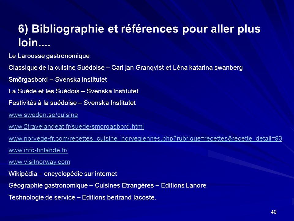6) Bibliographie et références pour aller plus loin....