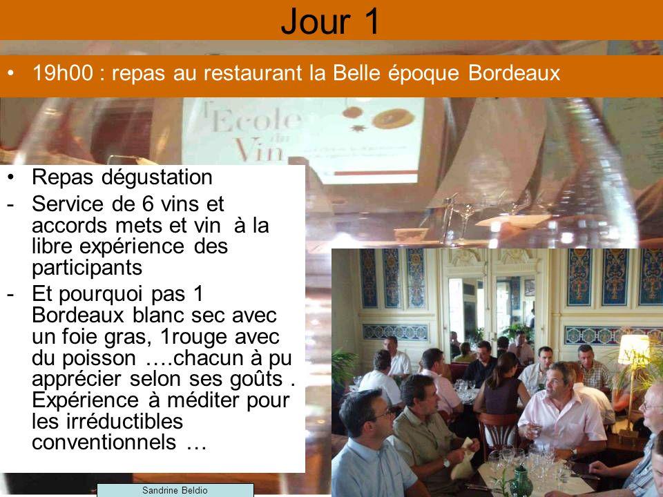 Jour 1 19h00 : repas au restaurant la Belle époque Bordeaux