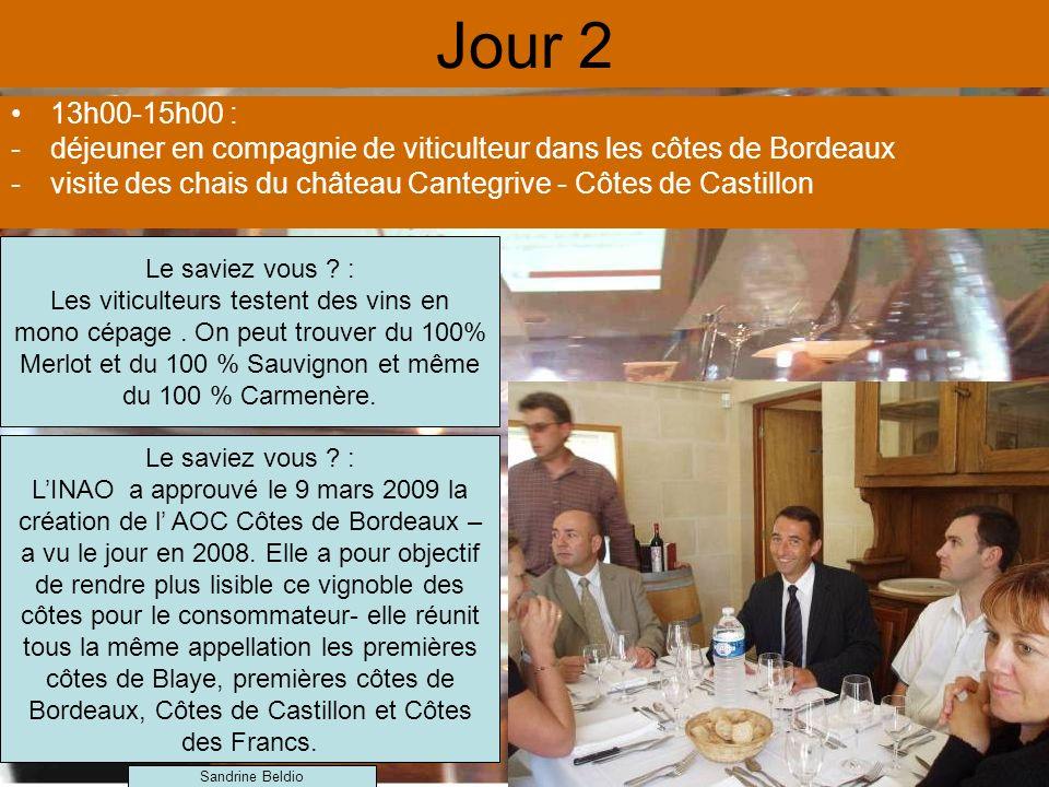 Jour 2 13h00-15h00 : déjeuner en compagnie de viticulteur dans les côtes de Bordeaux. visite des chais du château Cantegrive - Côtes de Castillon.