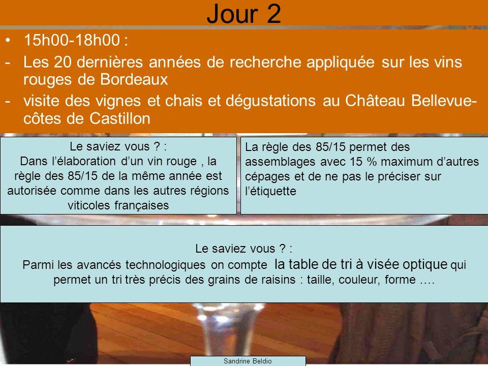 Jour 2 15h00-18h00 : Les 20 dernières années de recherche appliquée sur les vins rouges de Bordeaux.