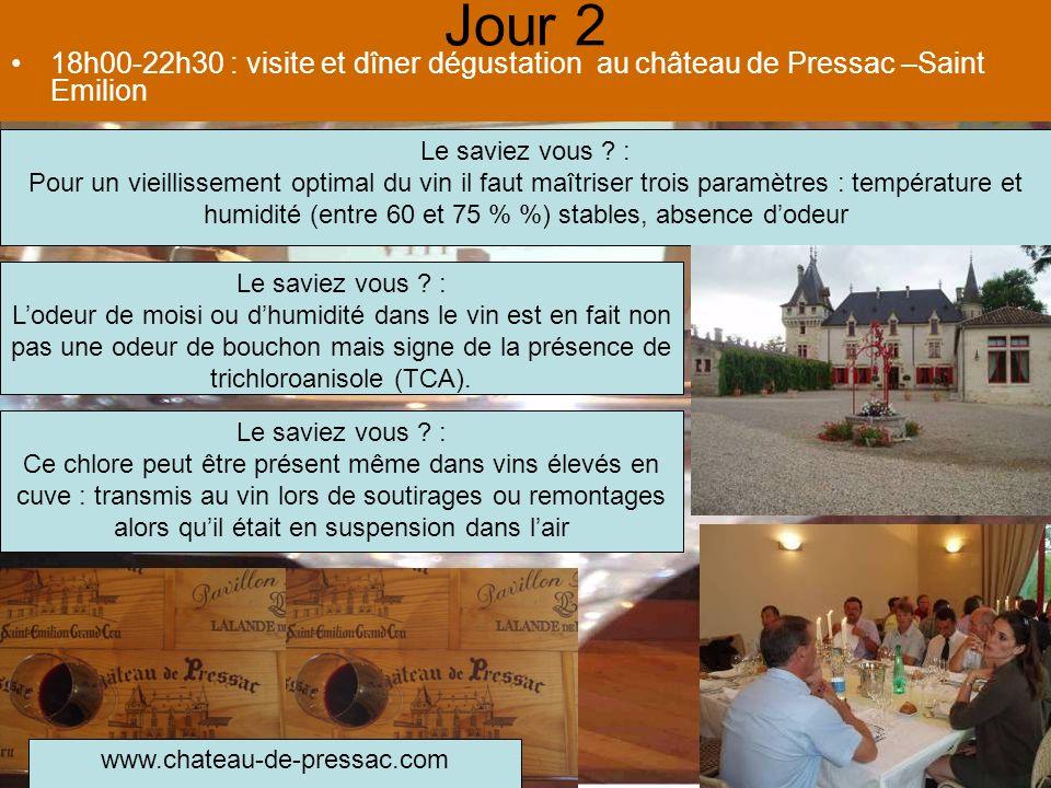 Jour 2 18h00-22h30 : visite et dîner dégustation au château de Pressac –Saint Emilion. Le saviez vous :