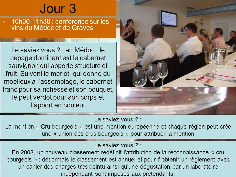 Jour 3 10h30-11h30 : conférence sur les vins du Médoc et de Graves