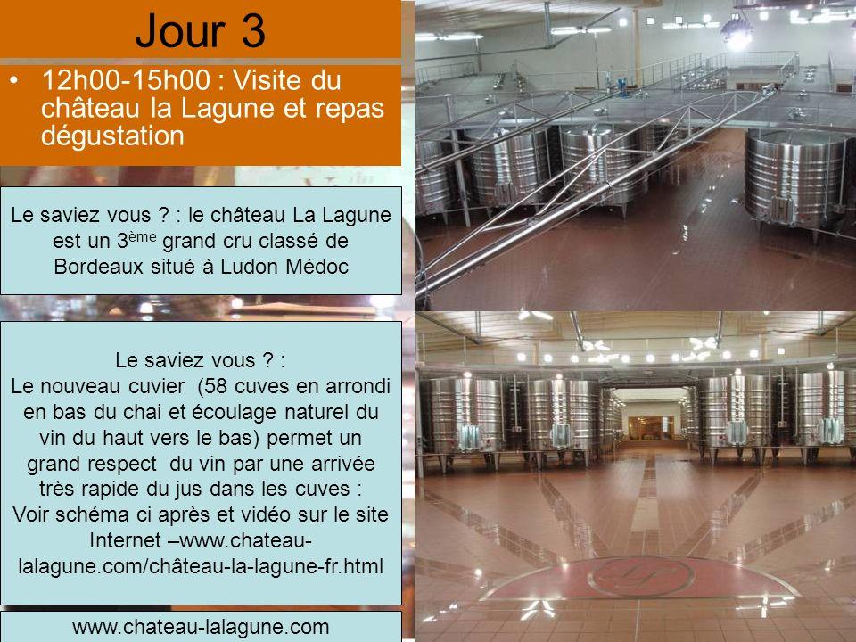 Jour 3 12h00-15h00 : Visite du château la Lagune et repas dégustation