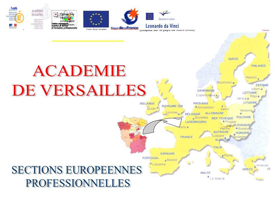 ACADEMIE DE VERSAILLES SECTIONS EUROPEENNES PROFESSIONNELLES