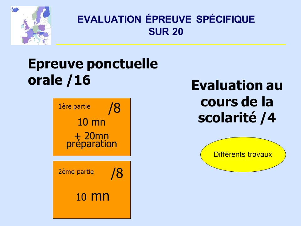EVALUATION ÉPREUVE SPÉCIFIQUE SUR 20