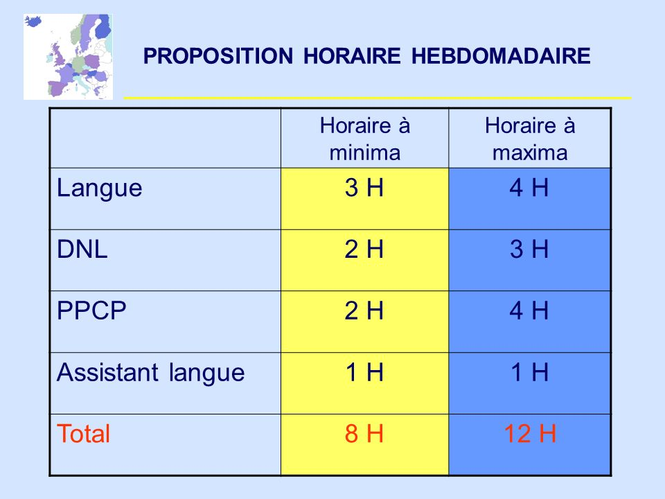 PROPOSITION HORAIRE HEBDOMADAIRE