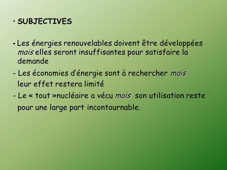 SUBJECTIVES- Les énergies renouvelables doivent être développées mais elles seront insuffisantes pour satisfaire la demande.