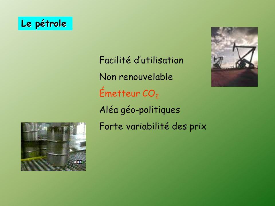 Le pétrole Facilité d'utilisation. Non renouvelable.