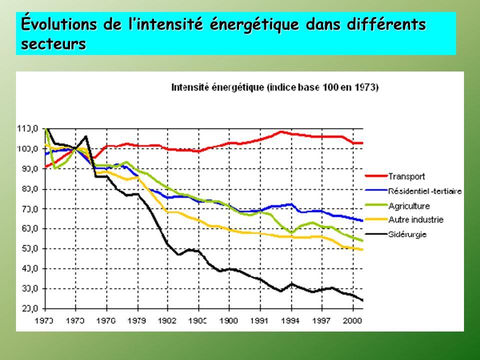Évolutions de l'intensité énergétique dans différents secteurs