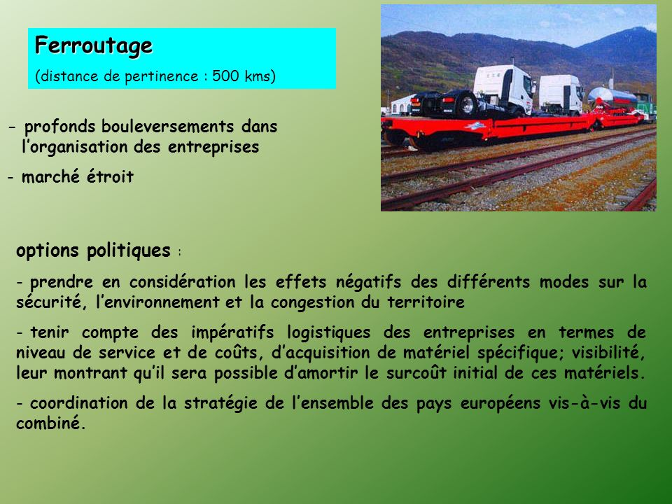 Ferroutage options politiques :