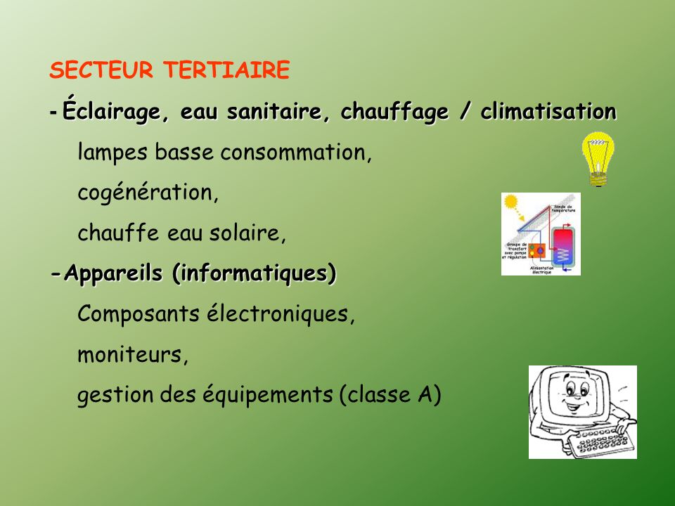 SECTEUR TERTIAIRE- Éclairage, eau sanitaire, chauffage / climatisation. lampes basse consommation, cogénération,