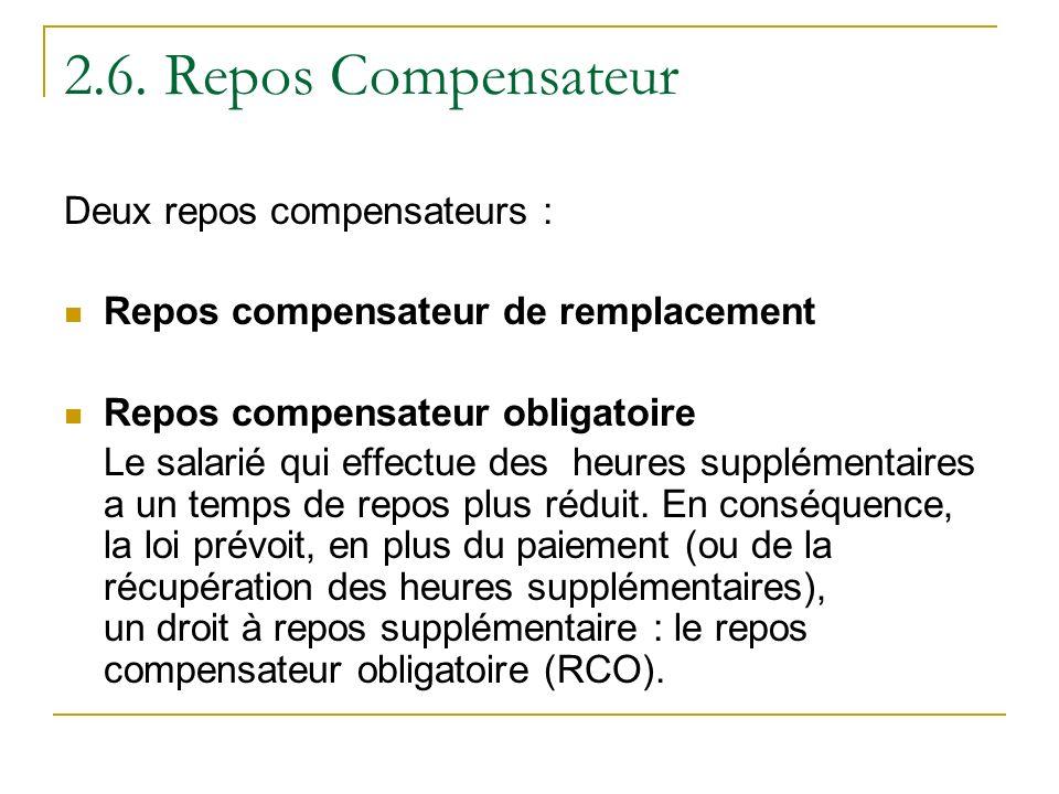 2.6. Repos Compensateur Deux repos compensateurs :