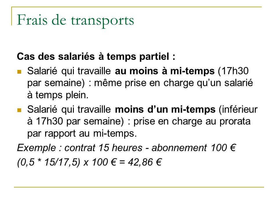 Frais de transports Cas des salariés à temps partiel :