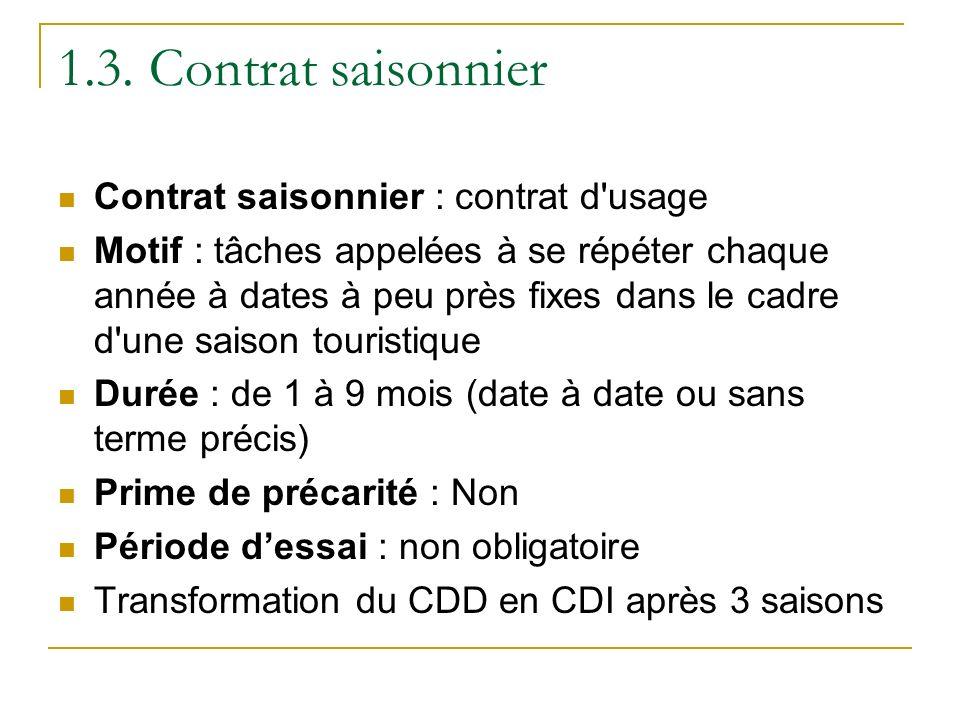 1.3. Contrat saisonnier Contrat saisonnier : contrat d usage