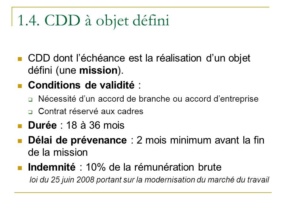 1.4. CDD à objet défini CDD dont l'échéance est la réalisation d'un objet défini (une mission). Conditions de validité :