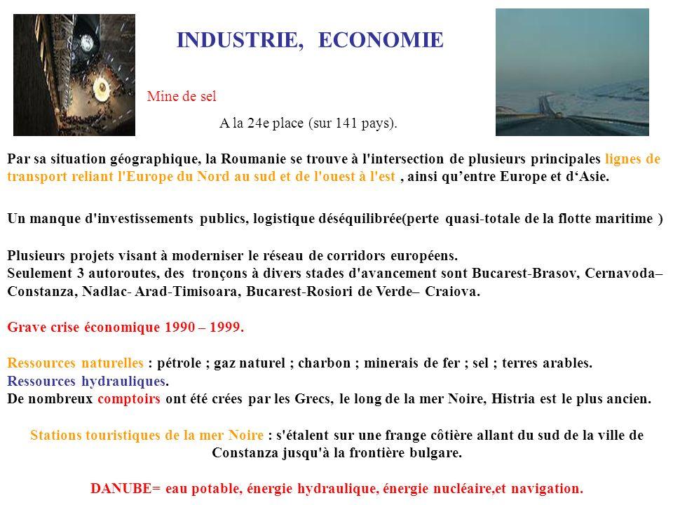 INDUSTRIE, ECONOMIE Mine de sel A la 24e place (sur 141 pays).