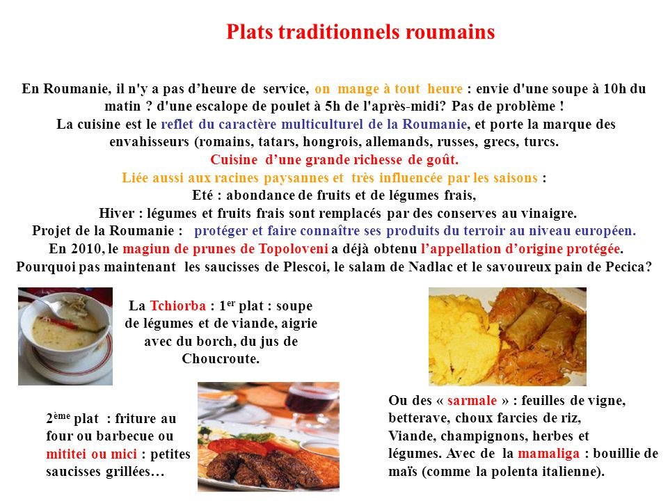 Plats traditionnels roumains