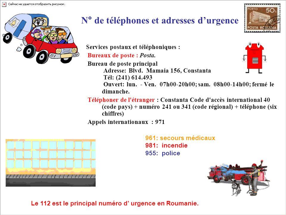 N° de téléphones et adresses d'urgence
