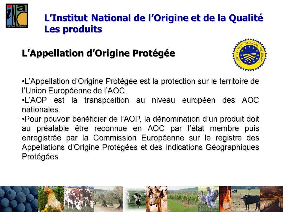 L'Institut National de l'Origine et de la Qualité Les produits