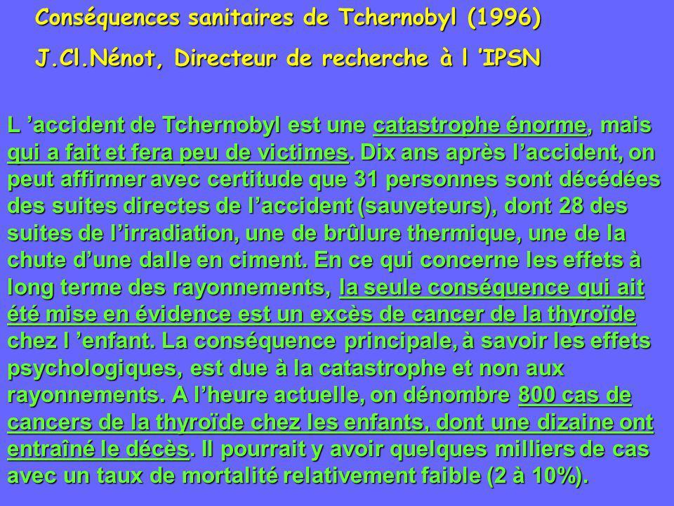 Conséquences sanitaires de Tchernobyl (1996)