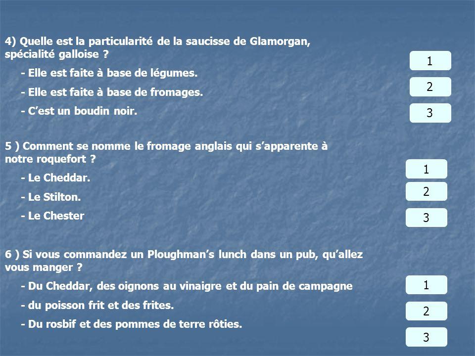 4) Quelle est la particularité de la saucisse de Glamorgan, spécialité galloise