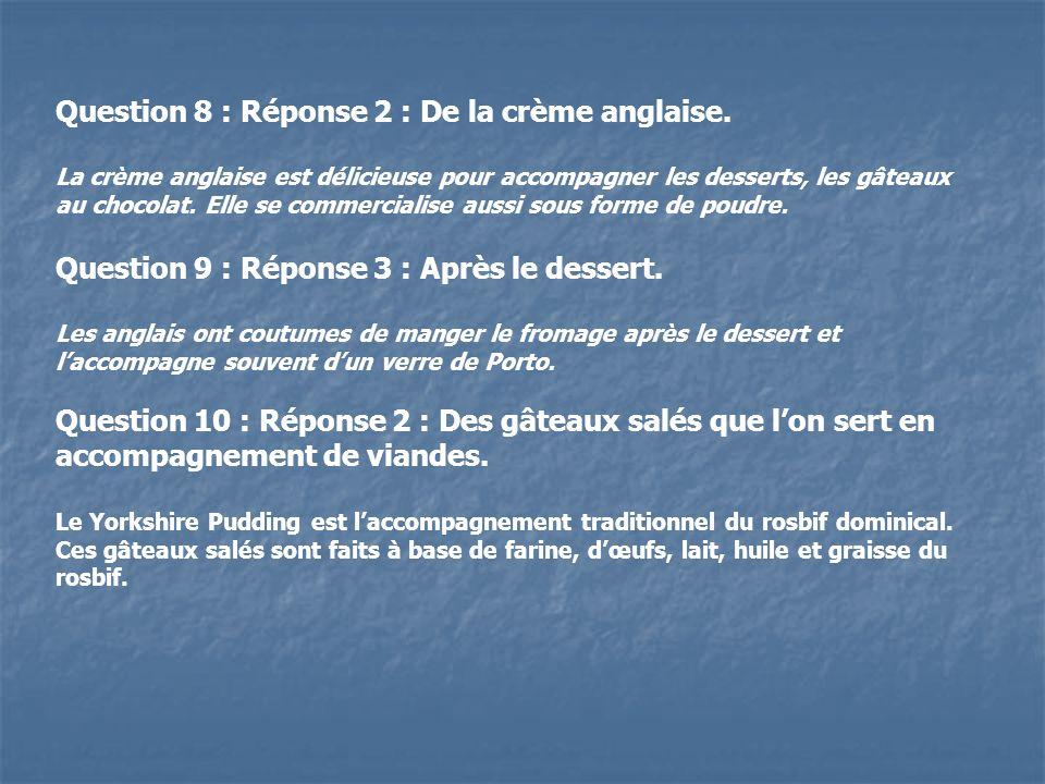 Question 8 : Réponse 2 : De la crème anglaise.