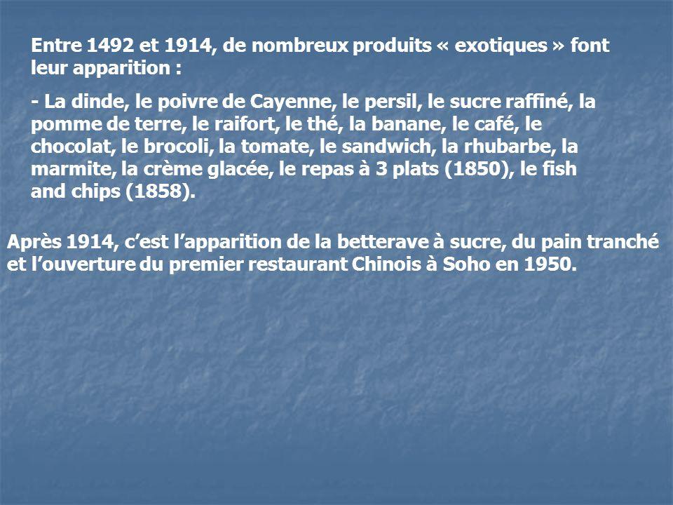 Entre 1492 et 1914, de nombreux produits « exotiques » font leur apparition :