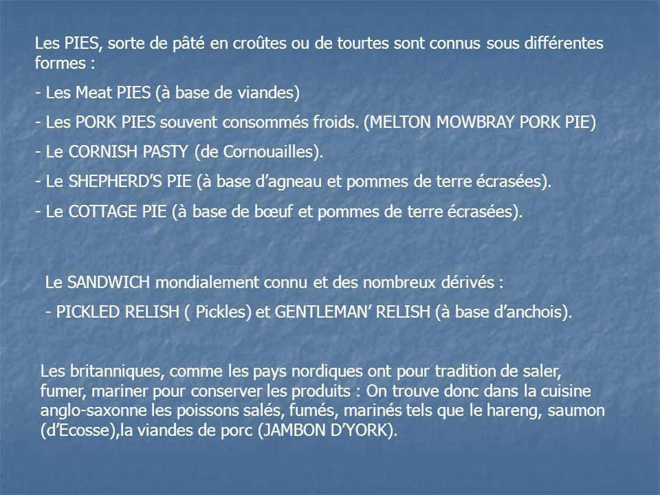 Les PIES, sorte de pâté en croûtes ou de tourtes sont connus sous différentes formes :