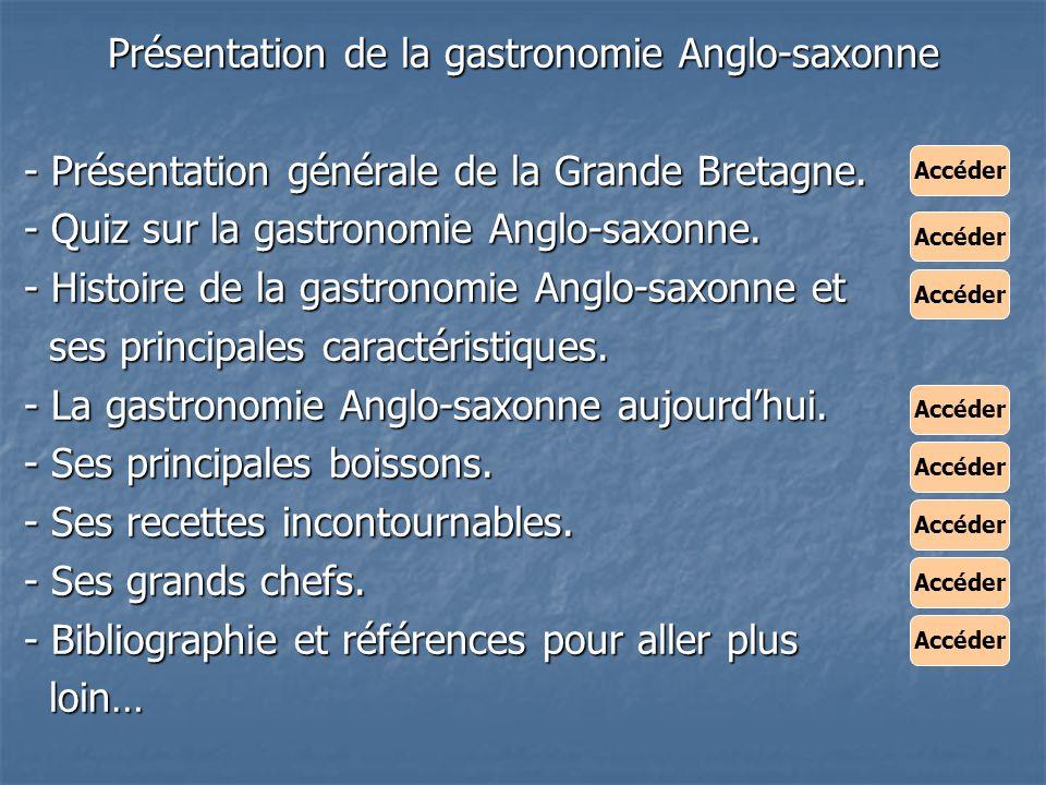 Présentation de la gastronomie Anglo-saxonne