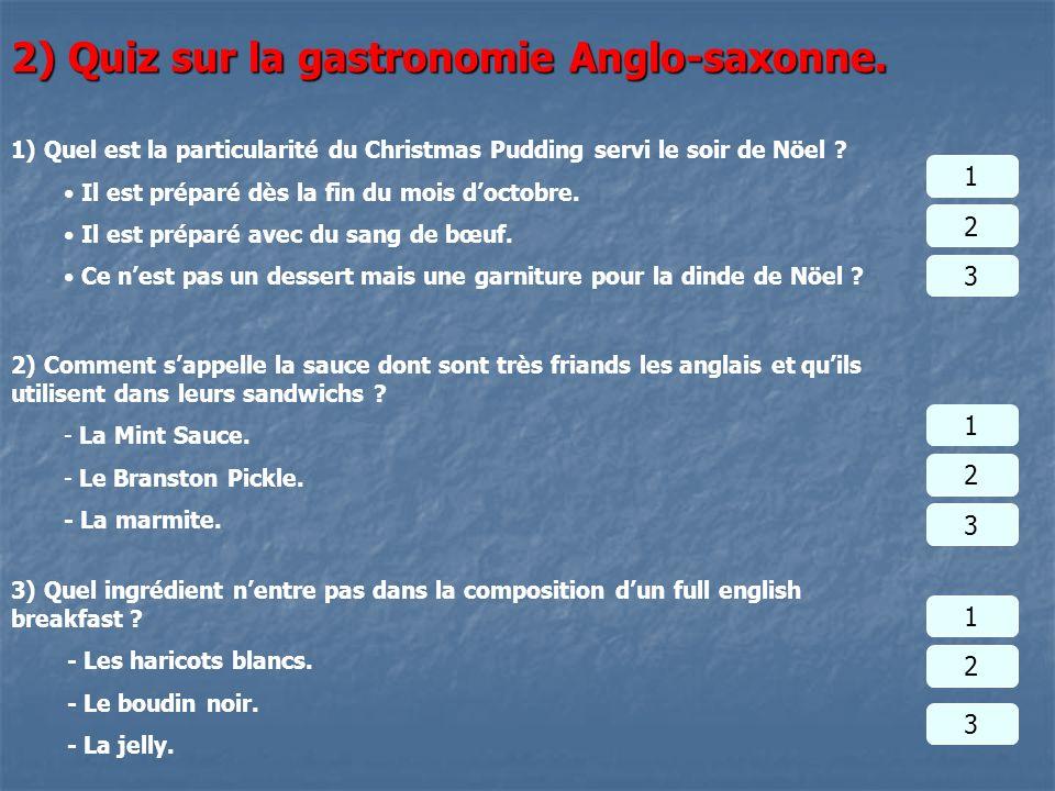 2) Quiz sur la gastronomie Anglo-saxonne.
