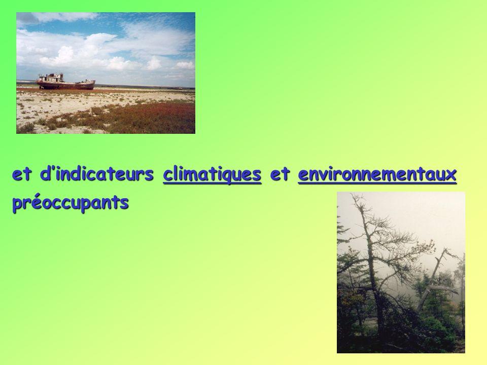 et d'indicateurs climatiques et environnementaux préoccupants