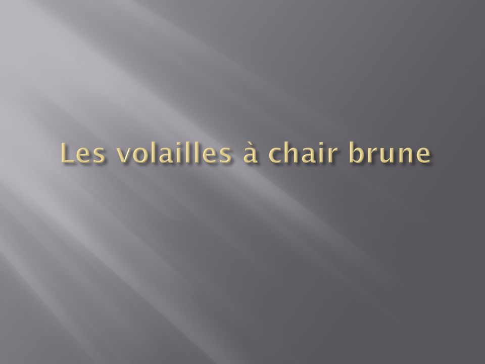 Les volailles à chair brune