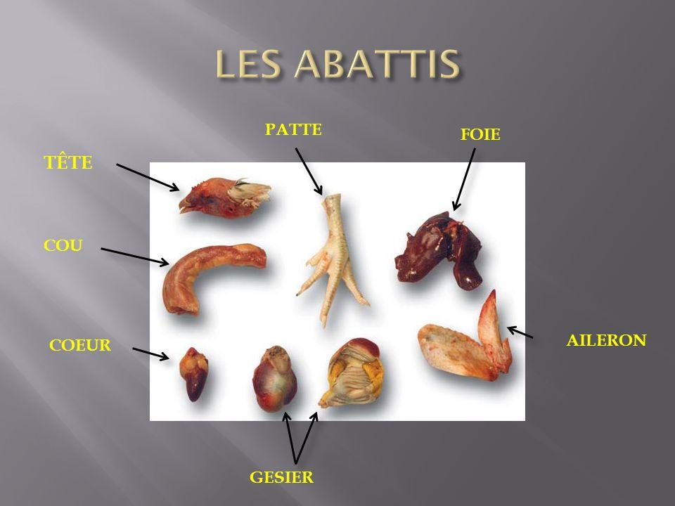 LES ABATTIS PATTE FOIE TÊTE COU AILERON COEUR GESIER