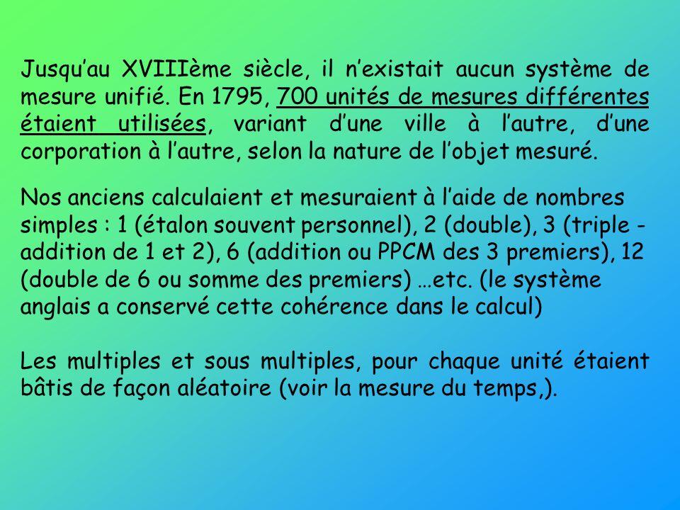Jusqu'au XVIIIème siècle, il n'existait aucun système de mesure unifié