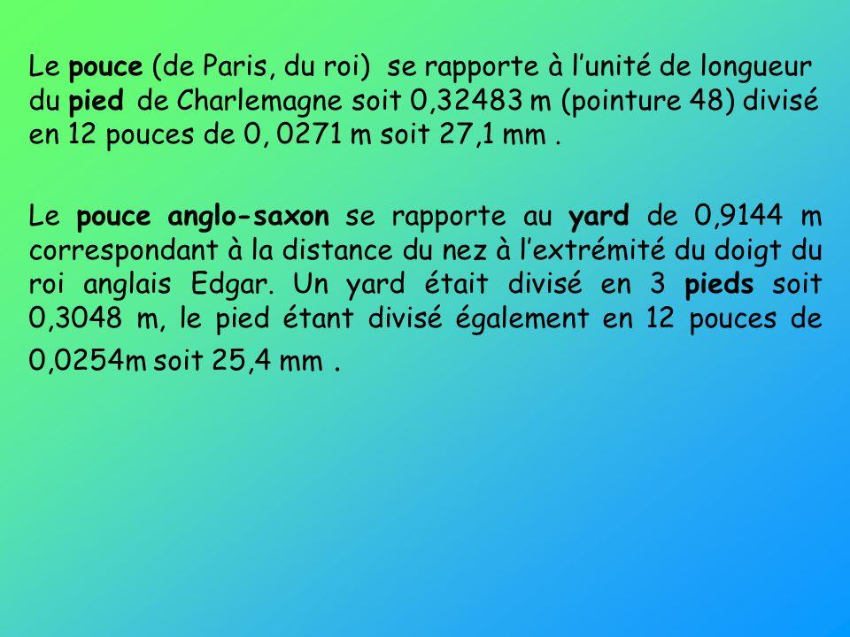 Le pouce (de Paris, du roi) se rapporte à l'unité de longueur du pied de Charlemagne soit 0,32483 m (pointure 48) divisé en 12 pouces de 0, 0271 m soit 27,1 mm .