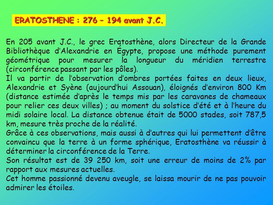 ERATOSTHENE : 276 – 194 avant J.C.
