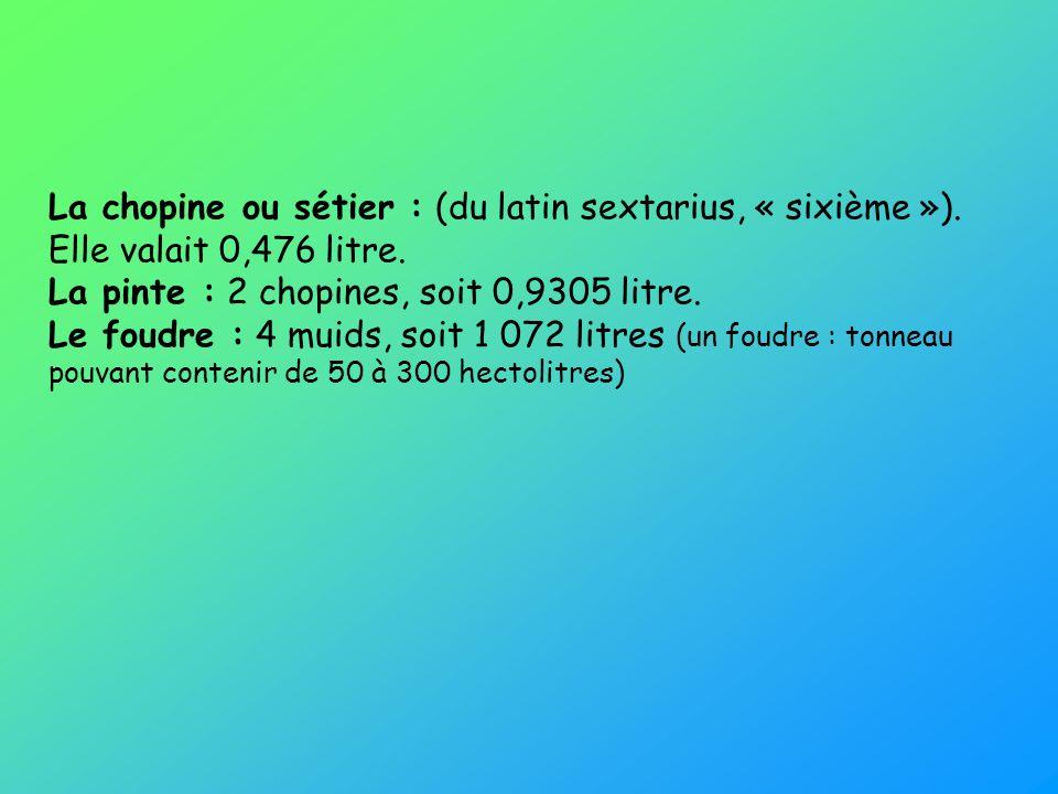 La chopine ou sétier : (du latin sextarius, « sixième »)
