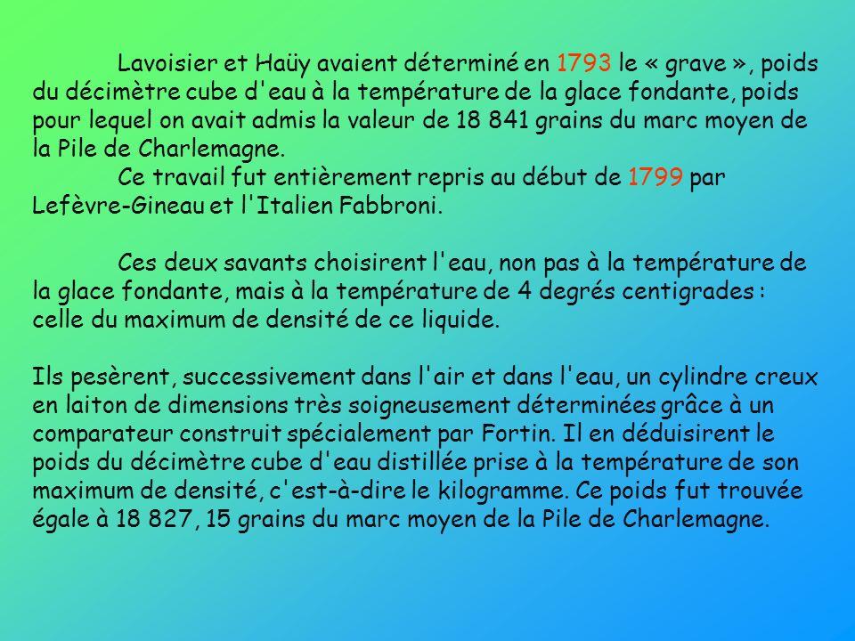 Lavoisier et Haüy avaient déterminé en 1793 le « grave », poids du décimètre cube d eau à la température de la glace fondante, poids pour lequel on avait admis la valeur de 18 841 grains du marc moyen de la Pile de Charlemagne. Ce travail fut entièrement repris au début de 1799 par Lefèvre-Gineau et l Italien Fabbroni.